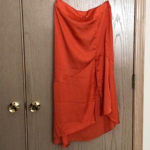 Free People hot orange slit skirt